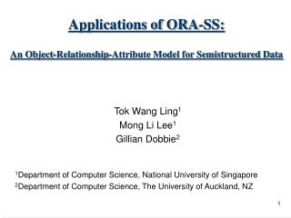 Applications of ORA-SS: An Object-Relationship-Attribute Model for Semistructured Data