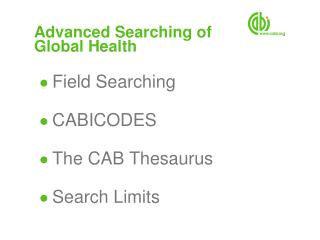 Advanced Searching of  Global Health