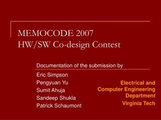 MEMOCODE 2007 HW/SW Co-design Contest
