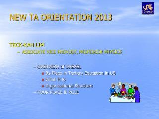 NEW TA ORIENTATION 2013