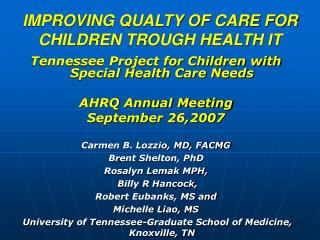 IMPROVING QUALTY OF CARE FOR CHILDREN TROUGH HEALTH IT