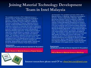 Joining Material Technology Development Team in Intel Malaysia