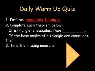 Daily Warm Up Quiz