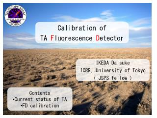 Contents Current status of TA FD calibration