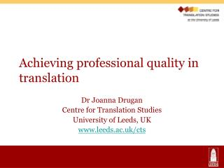 Achieving professional quality in translation