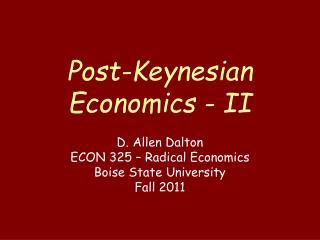 Post-Keynesian Economics - II