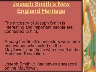 Joseph Smith's New England Heritage