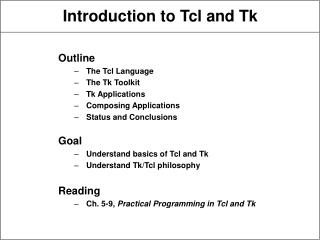 Introduction to Tcl and Tk