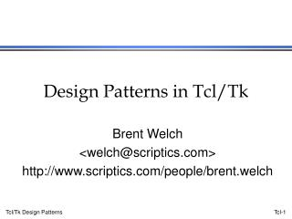 Design Patterns in Tcl/Tk