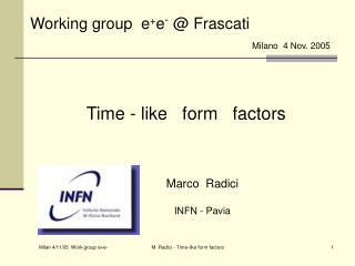 Working group  e + e - @  Frascati