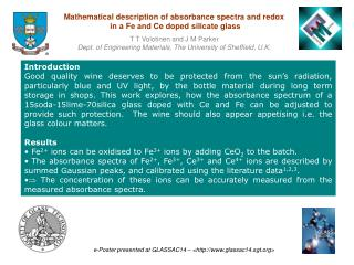 Mathematical description of absorbance spectra and redox  in a Fe and Ce doped silicate glass