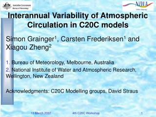 Interannual Variability of Atmospheric Circulation in C20C models