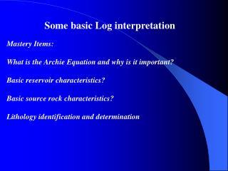 Some basic Log interpretation