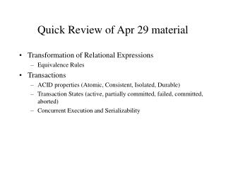 Quick Review of Apr 29 material