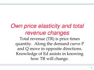 Own price elasticity and total revenue changes