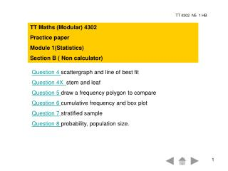 TT Maths (Modular) 4302 Practice paper Module 1(Statistics)  Section B ( Non calculator)