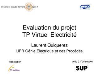 Evaluation du projet  TP Virtuel Electricité