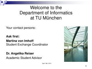 Welcome to the Department of Informatics  at TU München