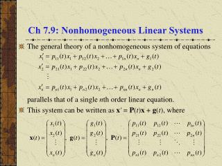 Ch 7.9: Nonhomogeneous Linear Systems