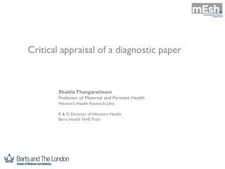 Critical appraisal of a diagnostic paper