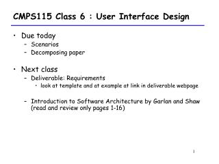 CMPS115 Class 6 : User Interface Design