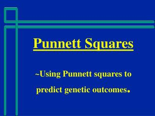 Punnett Squares ~Using Punnett squares to predict genetic outcomes .
