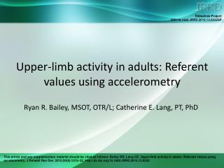Upper-limb activity in adults: Referent values using accelerometry