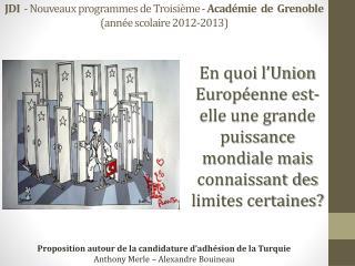 JDI   - Nouveaux programmes de Troisième -  Académie  de  Grenoble  (année scolaire 2012-2013)