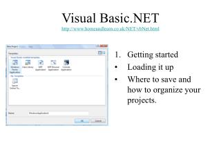 Visual Basic.NET homeandlearn.co.uk/NET/vbNet.html