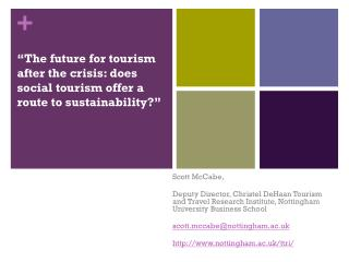 """The future for tourism after the crisis: does social tourism offer a route to sustainability?"""