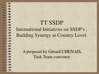 TT SSDP International Initiatives on SSDP's : Building Synergy at Country Level.