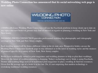 Wedding Photo Connection has announced that its social netwo
