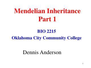 Mendelian Inheritance Part 1