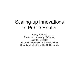 Scaling-up Innovations in Public Health
