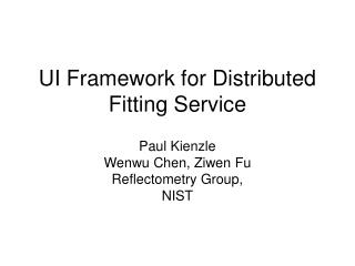 UI Framework for Distributed Fitting Service