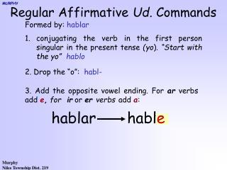 Regular Affirmative  Ud.  Commands
