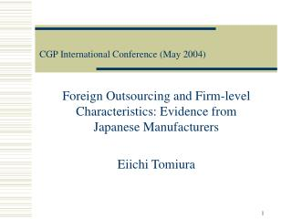 CGP International Conference (May 2004)