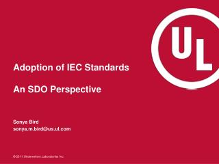 Adoption of IEC Standards An SDO Perspective