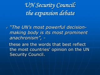 UN Security Council:  the expansion debate