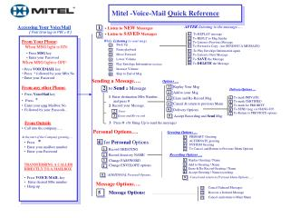 . Accessing Your VoiceMail             (  First time log-in PW = #  )