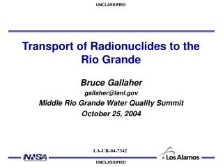 Transport of Radionuclides to the Rio Grande