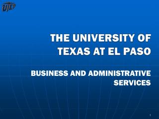 THE UNIVERSITY OF TEXAS AT EL PASO