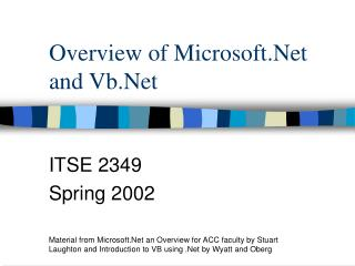 Overview of Microsoft.Net and Vb.Net