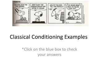 Classical Conditioning Examples