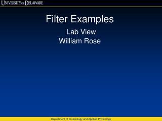 Filter Examples Lab View William Rose