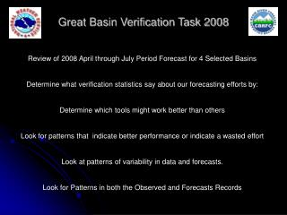 Great Basin Verification Task 2008