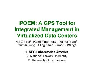 iPOEM: A GPS Tool for Integrated Management in Virtualized Data Centers
