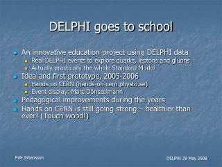 DELPHI goes to school