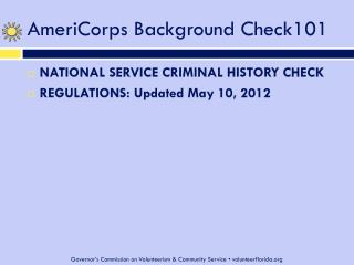 AmeriCorps Background Check101