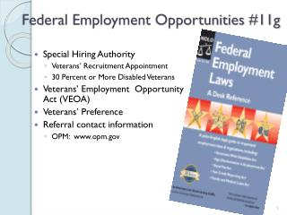 Federal Employment Opportunities #11g